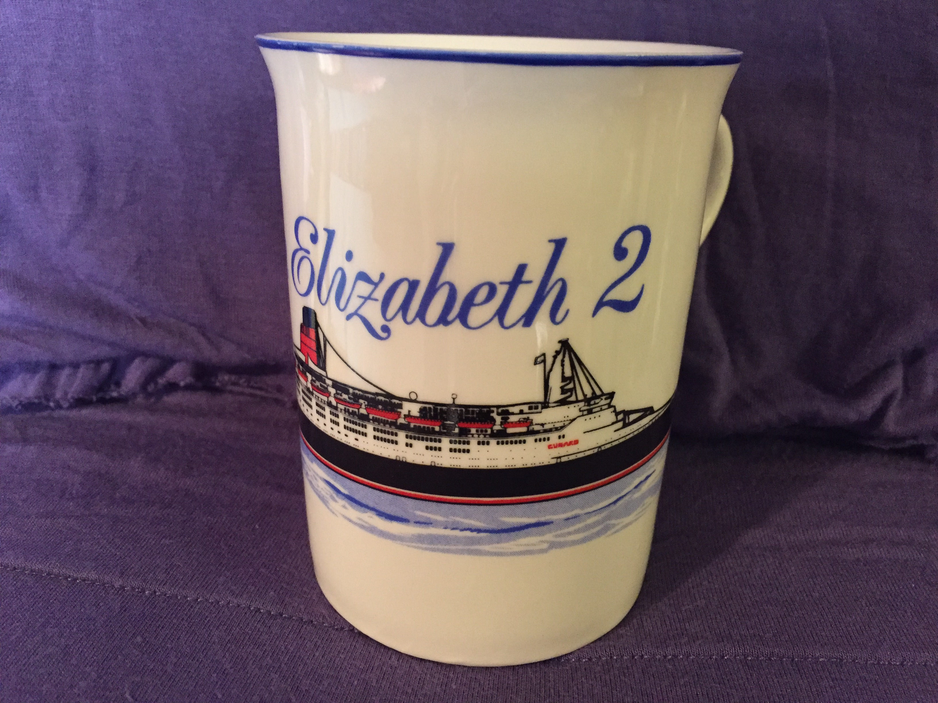 SOUVENIR MUG FROM THE VESSEL THE QE2