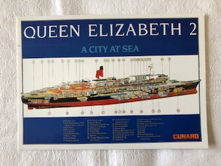 IN SERVICE POSTCARD FROM THE CUNARD LINE VESSEL THE QE2