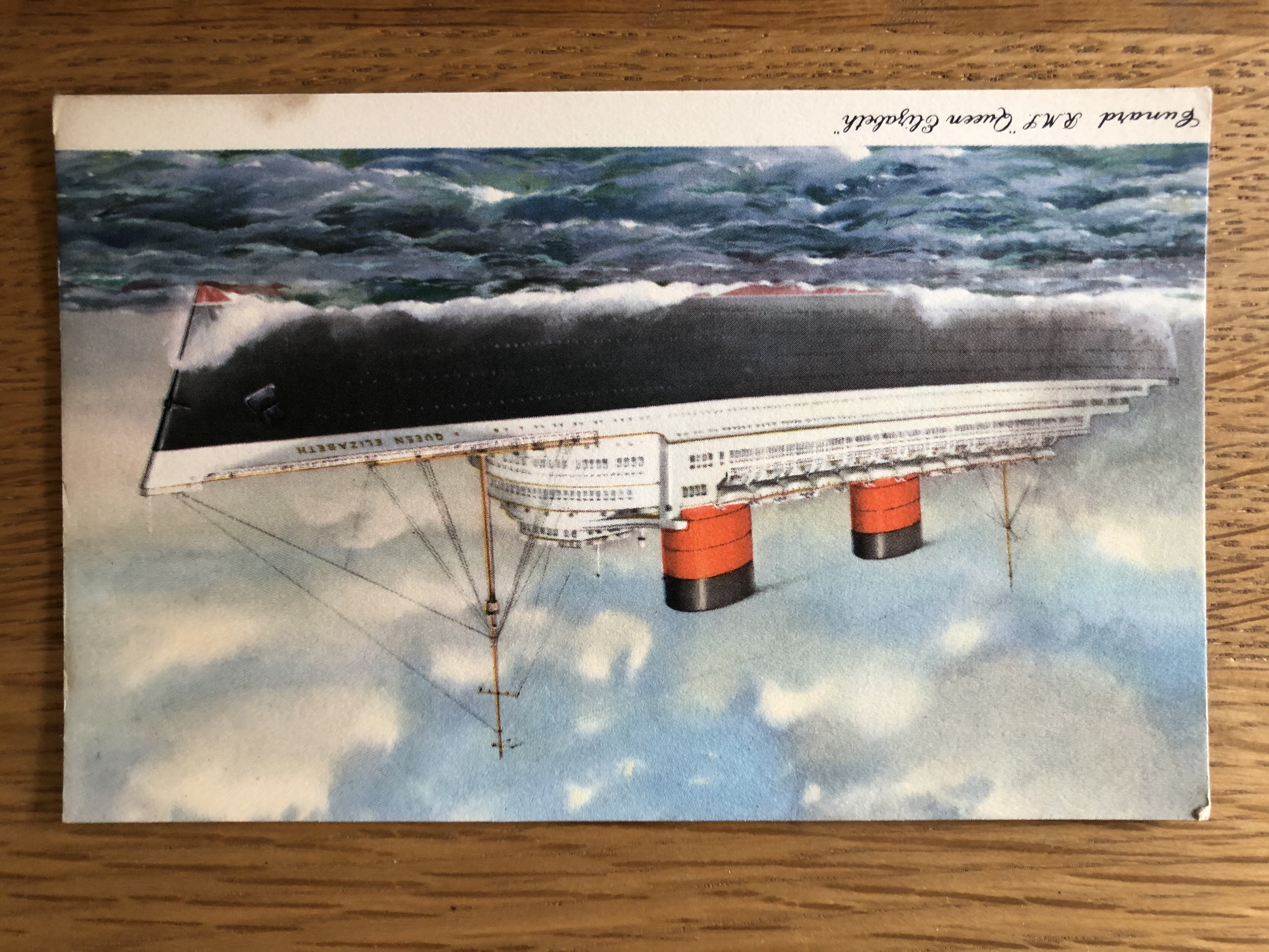 POSTCARD FROM THE CUNARD LINE VESSEL THE RMS QUEEN ELIZABETH