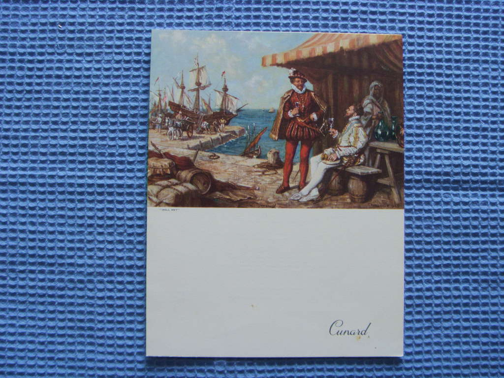 DINNER MENU FROM THE CUNARD LINE VESSEL THE QUEEN ELIZABETH DATED MAY 1959