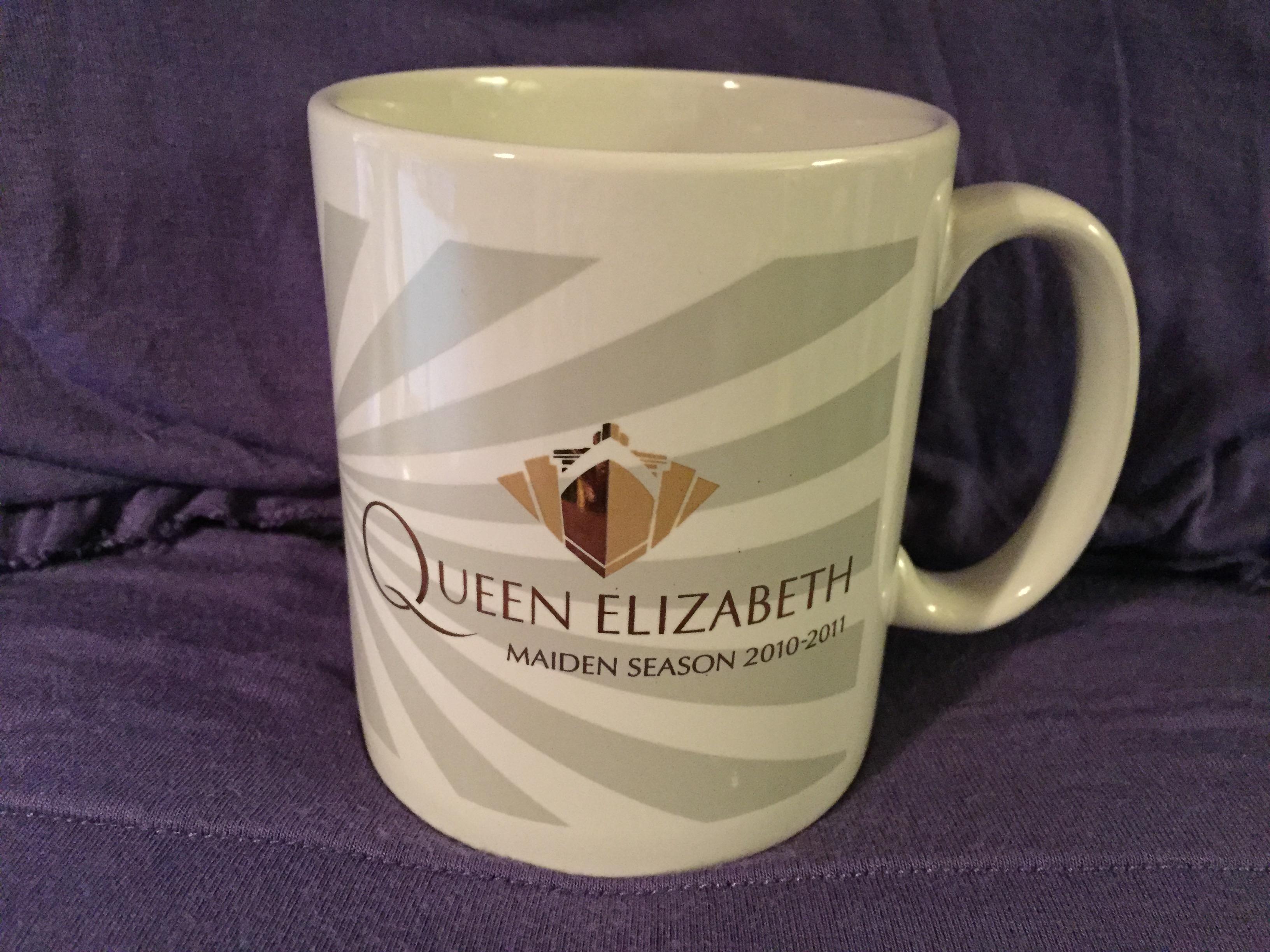 SOUVENIR MUG FROM THE MAIDEN SEASON OF THE NEW QUEEN ELIZABETH