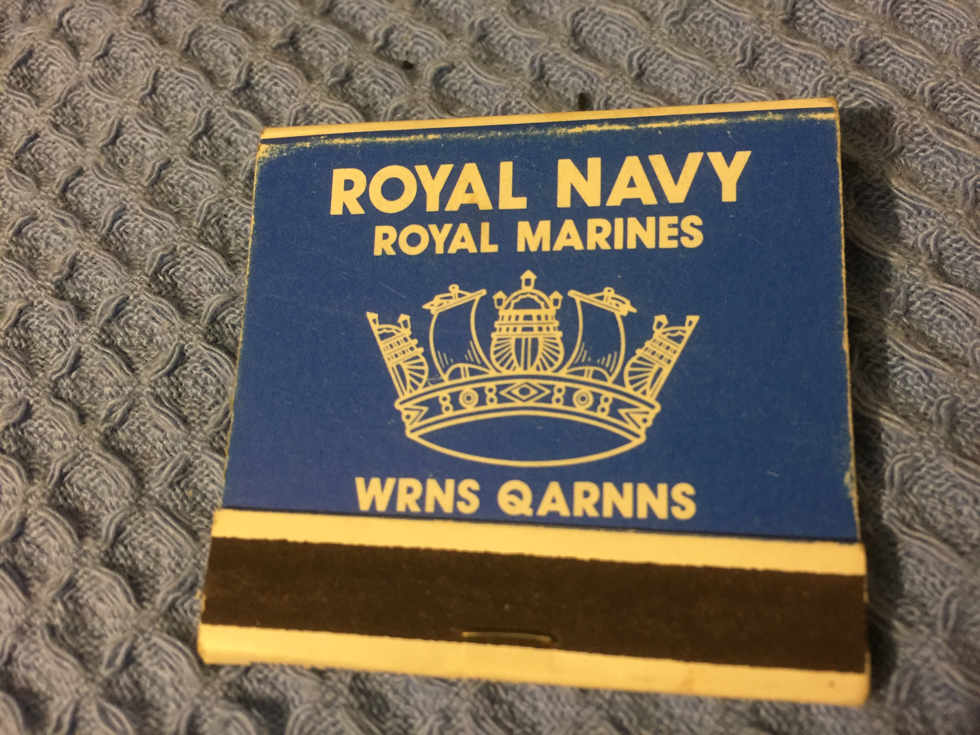 VERY EARLY UNUSED FLAT PACK BOX OF MATCHES FROM THE ROYAL NAVY