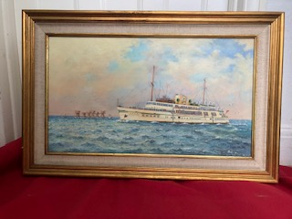 RARE OIL PAINTING FROM COLLECTABLE ARTIST COLIN MOORE OF THE VESSEL ROYAL SOVEREIGN