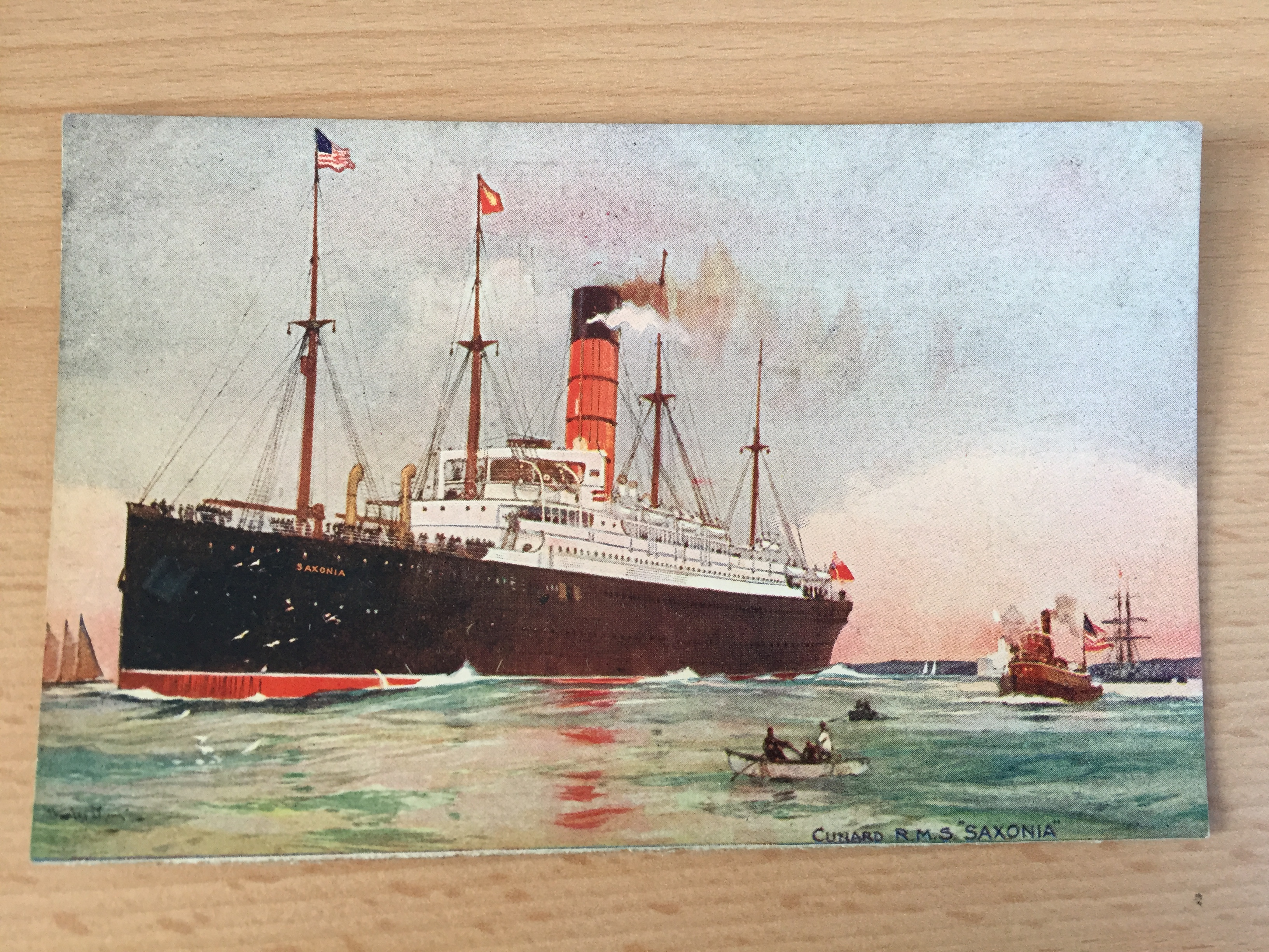 UNUSED COLOUR POSTCARD OF THE CUNARD LINE VESSEL THE RMS SAXONIA