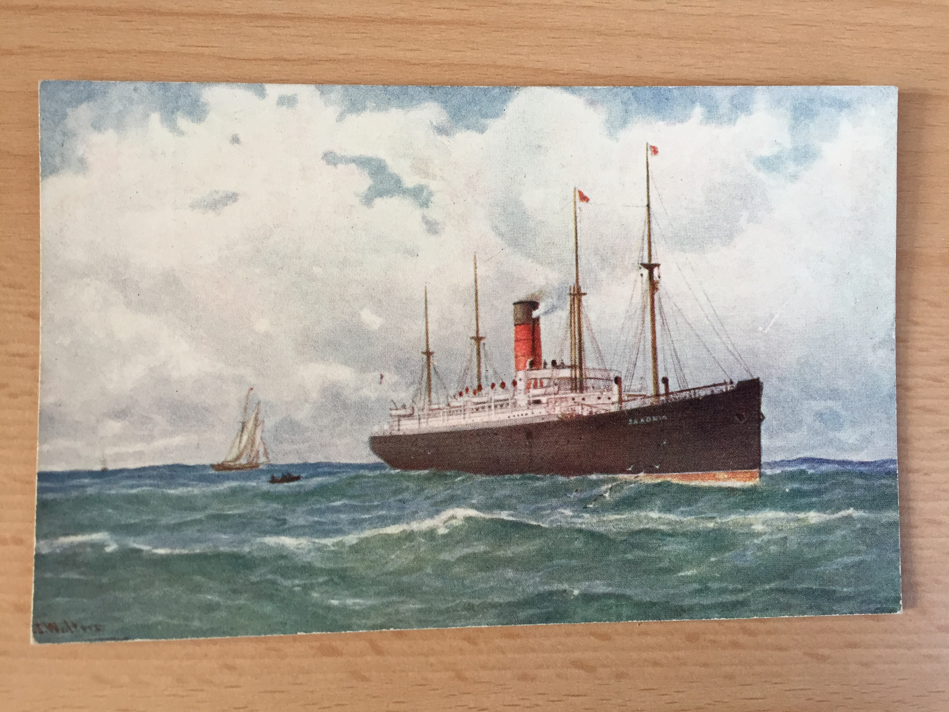 EARLY UNUSED COLOUR POSTCARD OF THE CUNARD LINE VESSEL THE SAXONIA