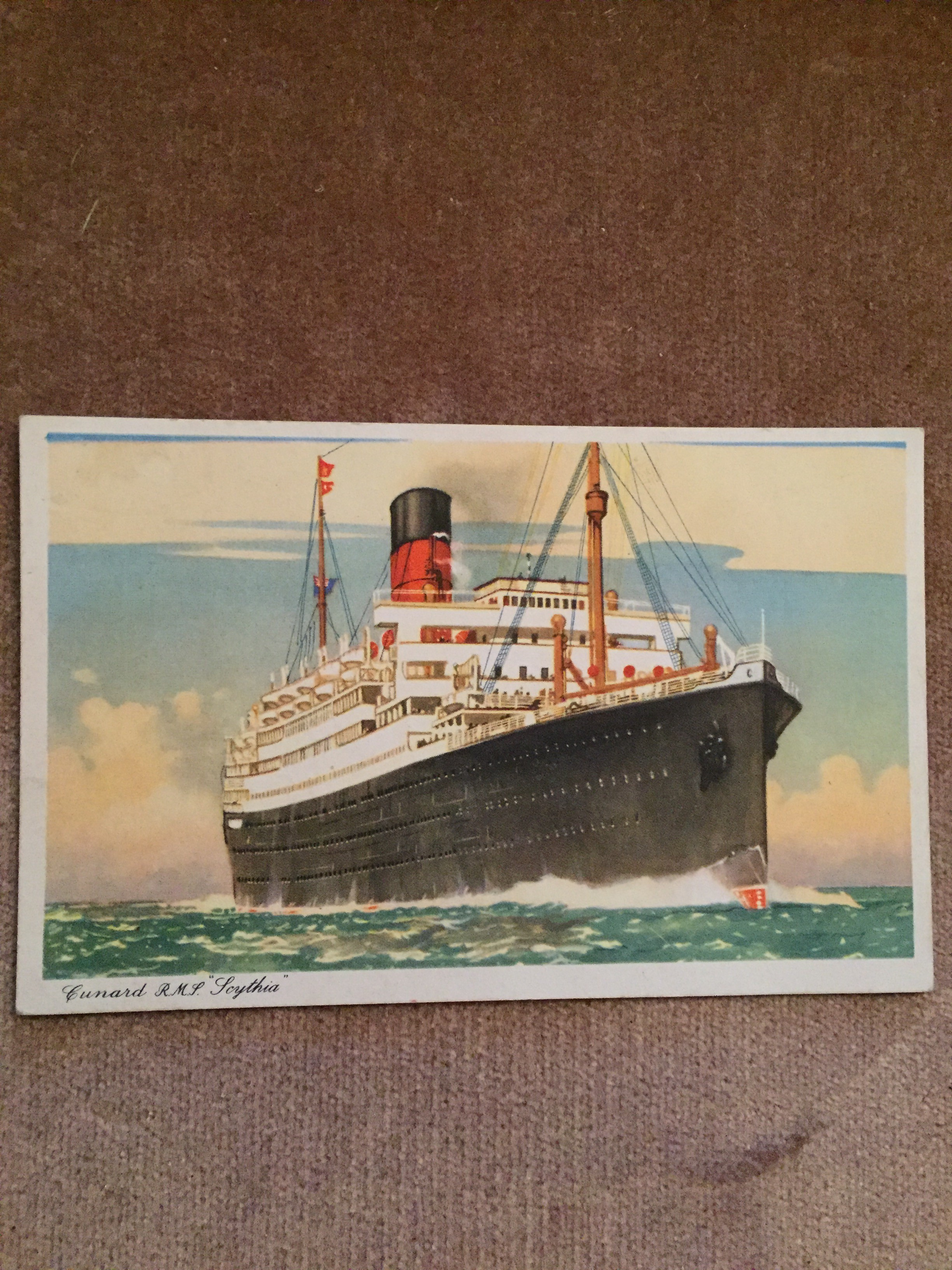 USED COLOUR POSTCARD FROM THE OLD CUNARD LINE VESSEL THE RMS SCYTHIA