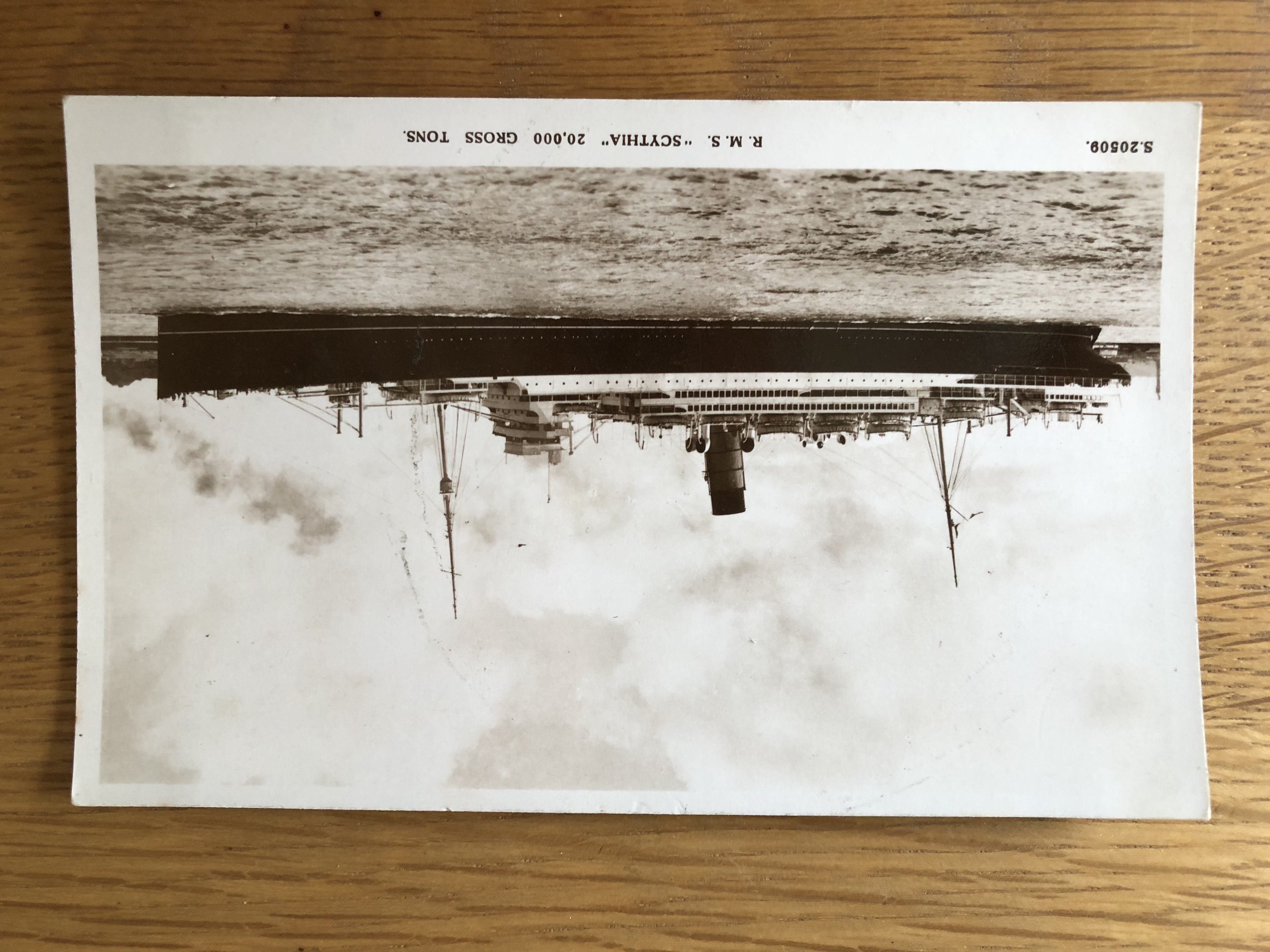 POSTCARD FROM THE ROYAL MAIL LINE VESSEL THE RMS SCYTHIA