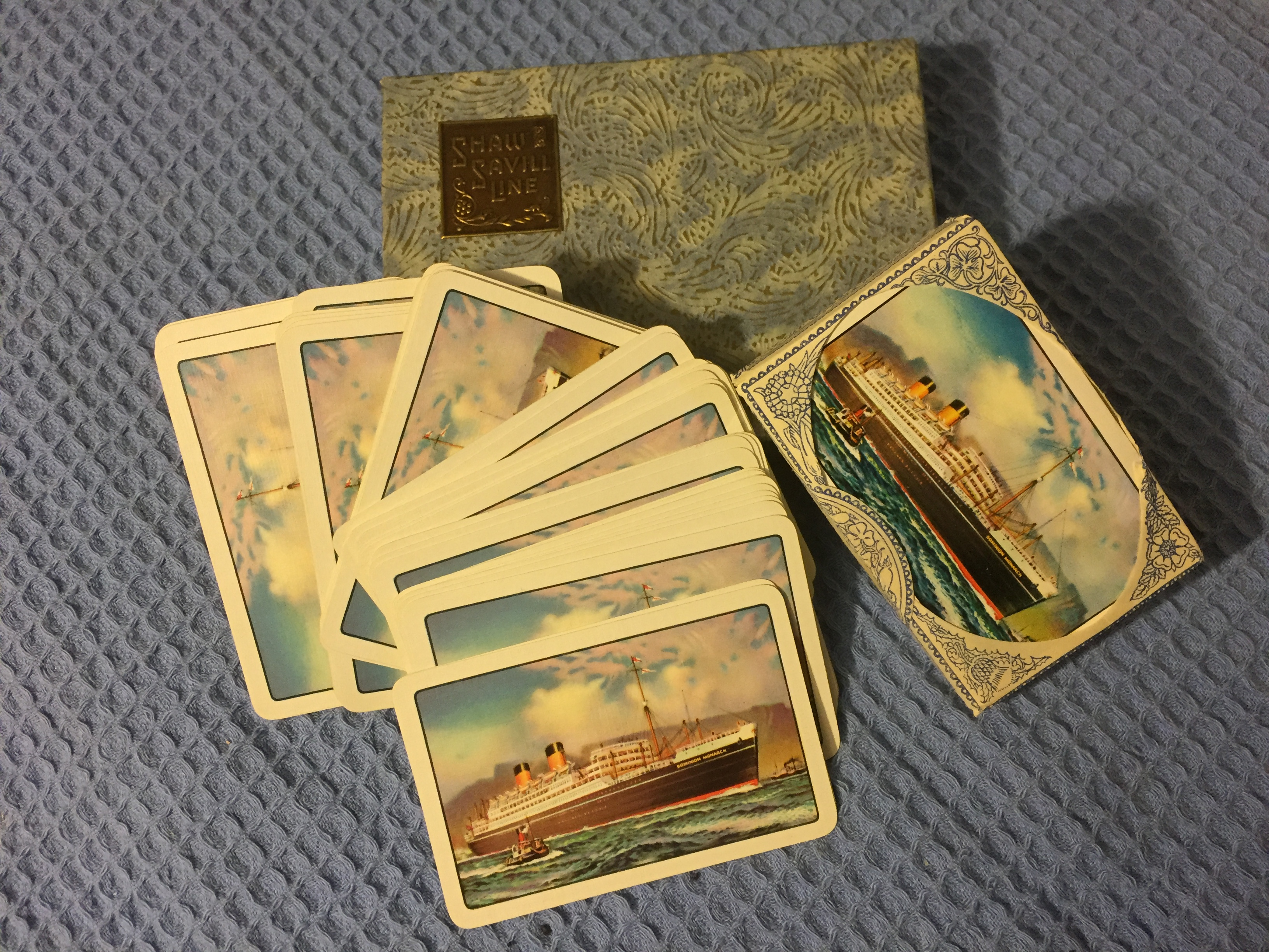SUPERB DOUBLE SET OF PLAYING CARDS FROM THE SHAW SAVILL  LINE IN ORIGINAL PRESENTATION BOX