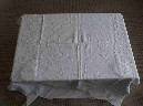 SHAW SAVILL AND ALBION LINE ORIGINAL AS USED ON BOARD EMBOSSED WHITE TABLE CLOTH