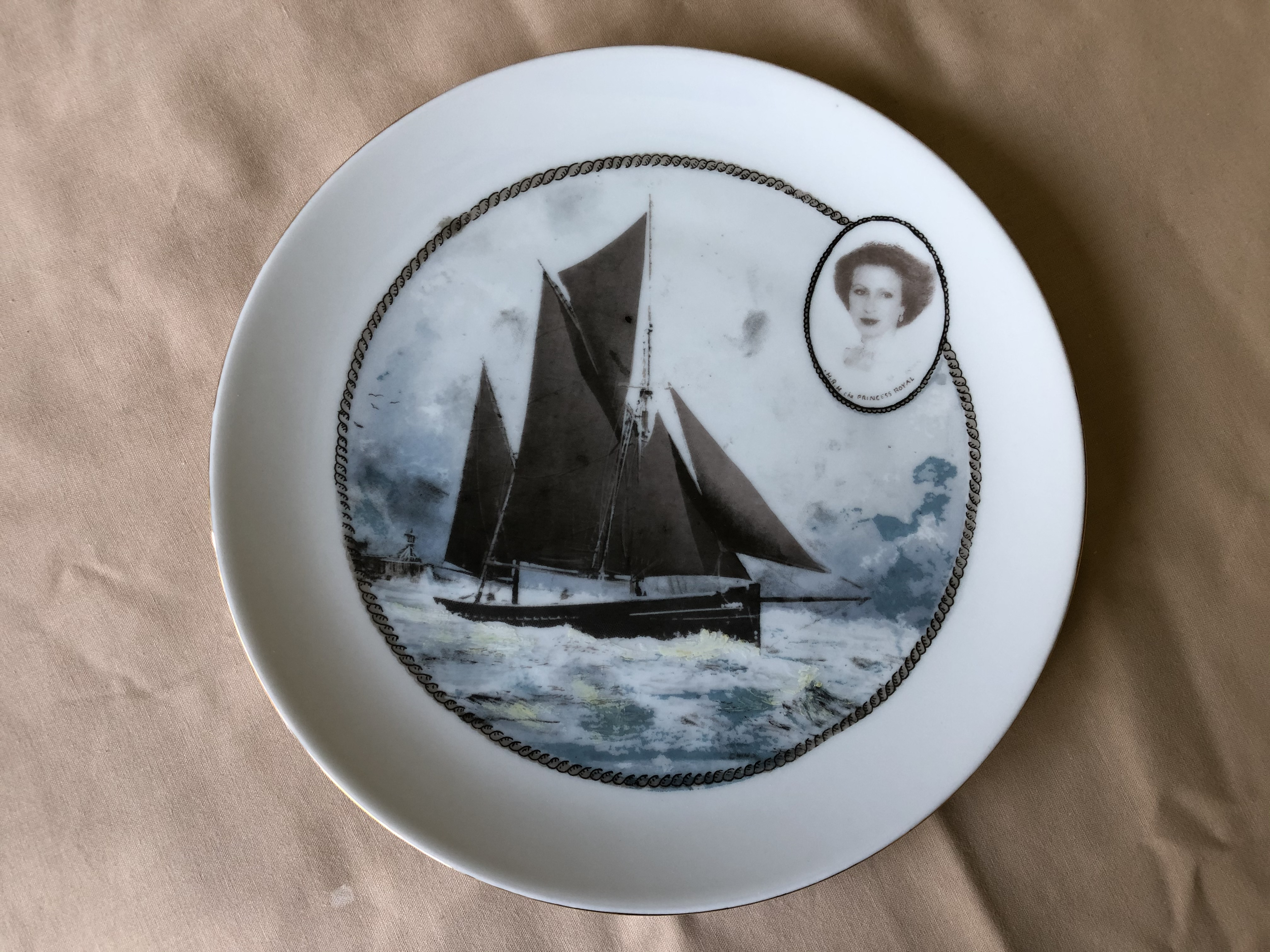 RARE TO FIND CHINA DISPLAY PLATE OF THE VESSEL THE EXCELSIOR
