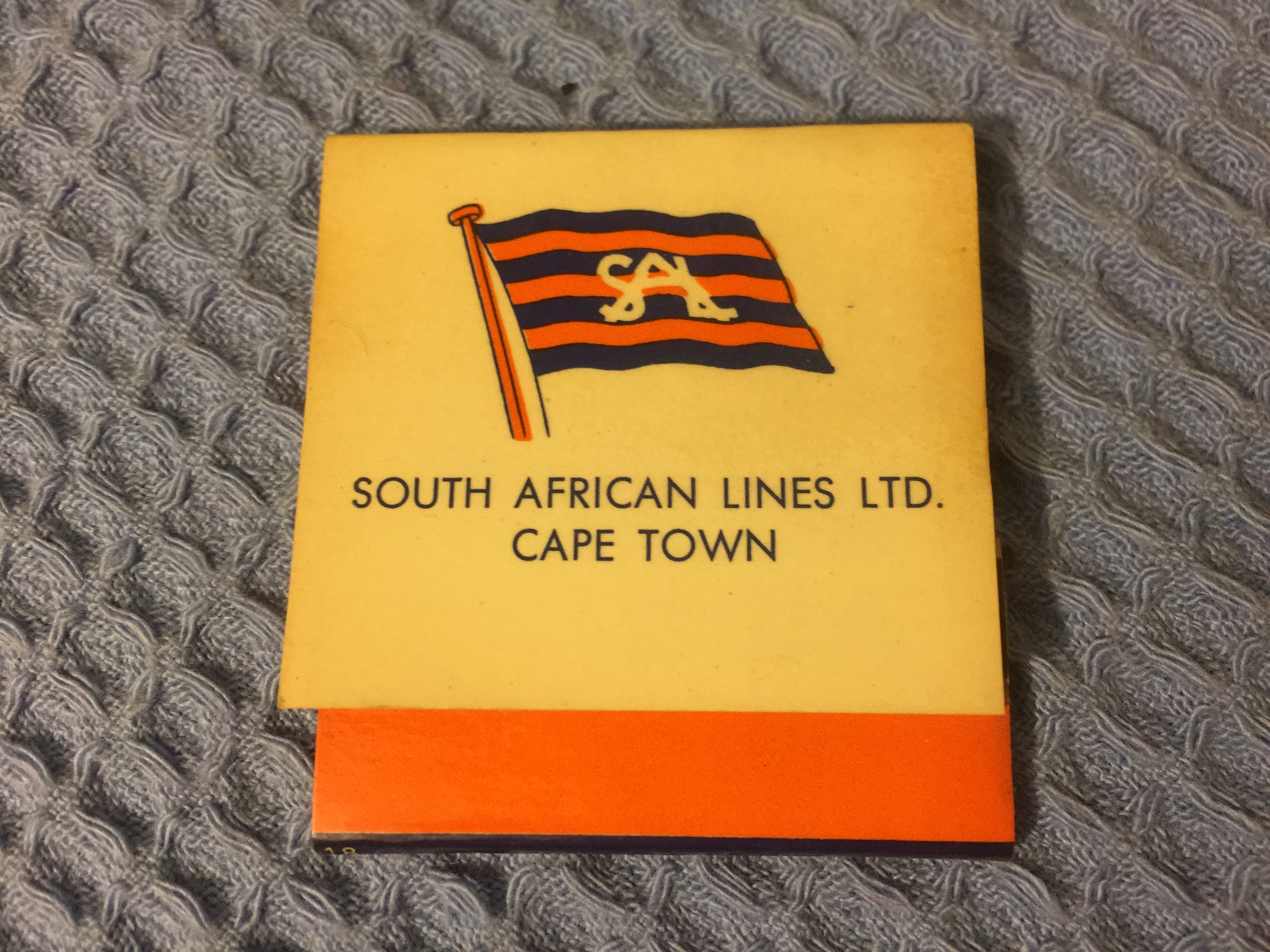EARLY UNUSED FLAT PACK BOX OF MATCHES FROM THE SOUTH AFRICAN LINES LIMITED CAPE TOWN