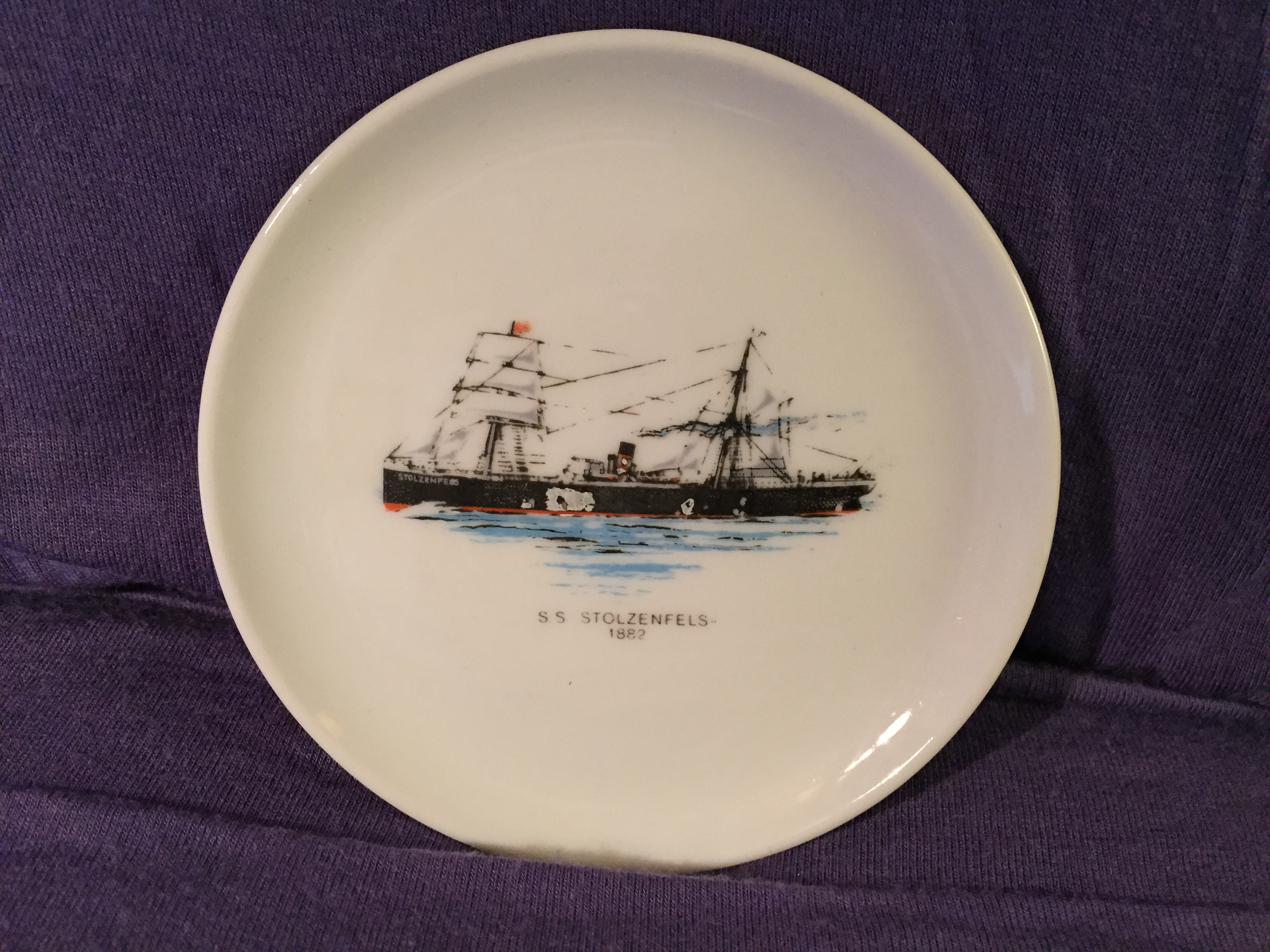 SMALL SOUVENIR DISH FROM THE VESSEL THE SS STOLENFELZ