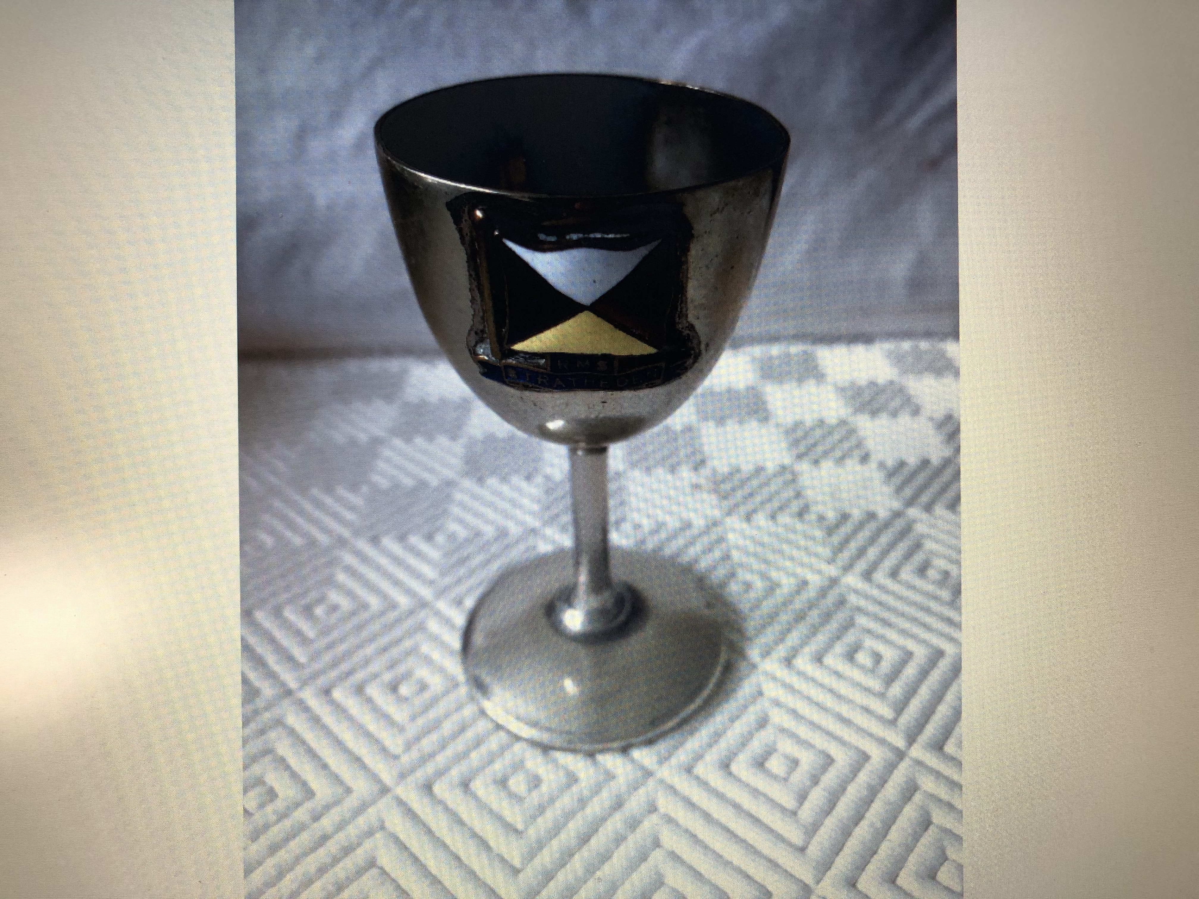 EGGCUP SOUVENIR FROM THE P&O LINE VESSEL THE RMS STRATHEDEN