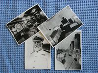 AN OLD BLACK AND WHITE SET OF 4 POSTCARD SIZE PHOTOGRAPHS OF THE TITANIC CAPTAIN AND SHIP AREAS
