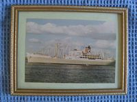 OLD FRAMED PICTURE OF THE BLUE STAR LINE VESSEL THE ARGENTINA STAR