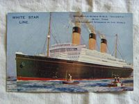 RARE FULL COLOUR UNUSED POSTCARD OF THE WHITE STAR LINER THE RMS MAJESTIC