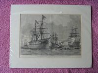 B/W PRINT OF THE OLD SAILING RIG VESSEL THE PRINCE OF WALES FROM THE 1800's