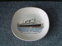 EARLY DECORATIVE CHINA DISH FROM THE LINER THE RMS QUEEN ELIZABETH