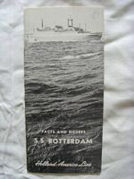 BOOKLET FROM THE SS ROTTERDAM