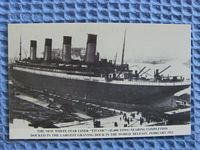 OLD BLACK AND WHITE POSTCARD OF THE TITANIC IN DRY DOCK