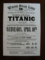 COPY OF AN ORIGINAL TITANIC MAIDEN VOYAGE LAUNCH POSTER