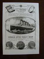 COPY OF AN ORIGINAL TITANIC POSTER ADVERTISING VINOLIA OTTO TOILET SOAP