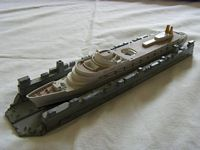 EARLY TRIANG MODEL METAL FLOATING DOCK WITH CRUISE SHIP