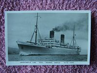 ORIGINAL B/W POSTCARD OF THE UNION-CASTLE LINE VESSEL THE RMS ARUNDEL CASTLE
