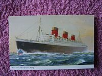 ORIGINAL UNUSED COLOUR POSTCARD OF THE CUNARD LINE VESSEL THE RMS QUEEN MARY