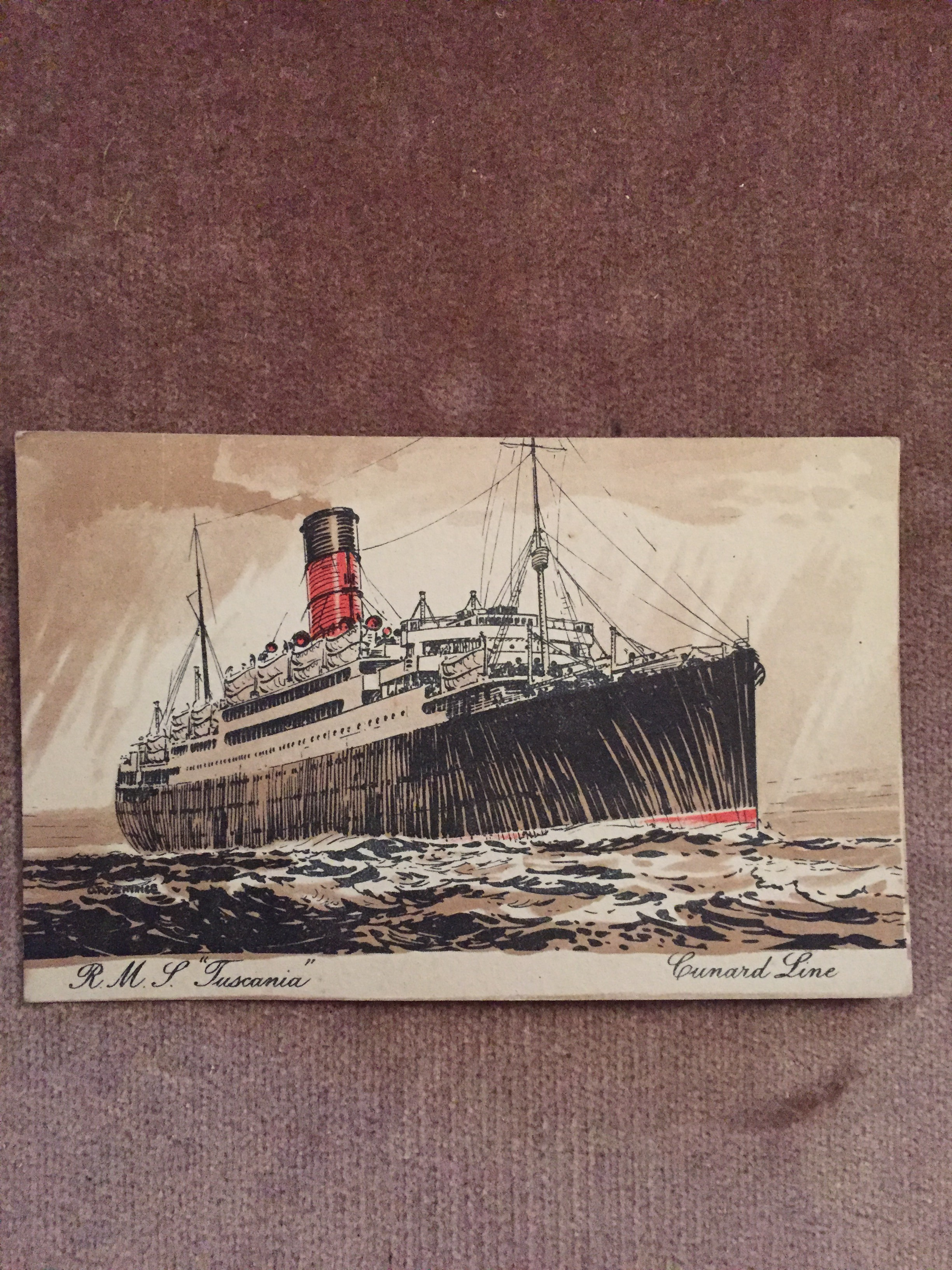 ORIGINAL COLOUR POSTCARD OF THE CUNARD LINE VESSEL THE RMS TUSCANIA