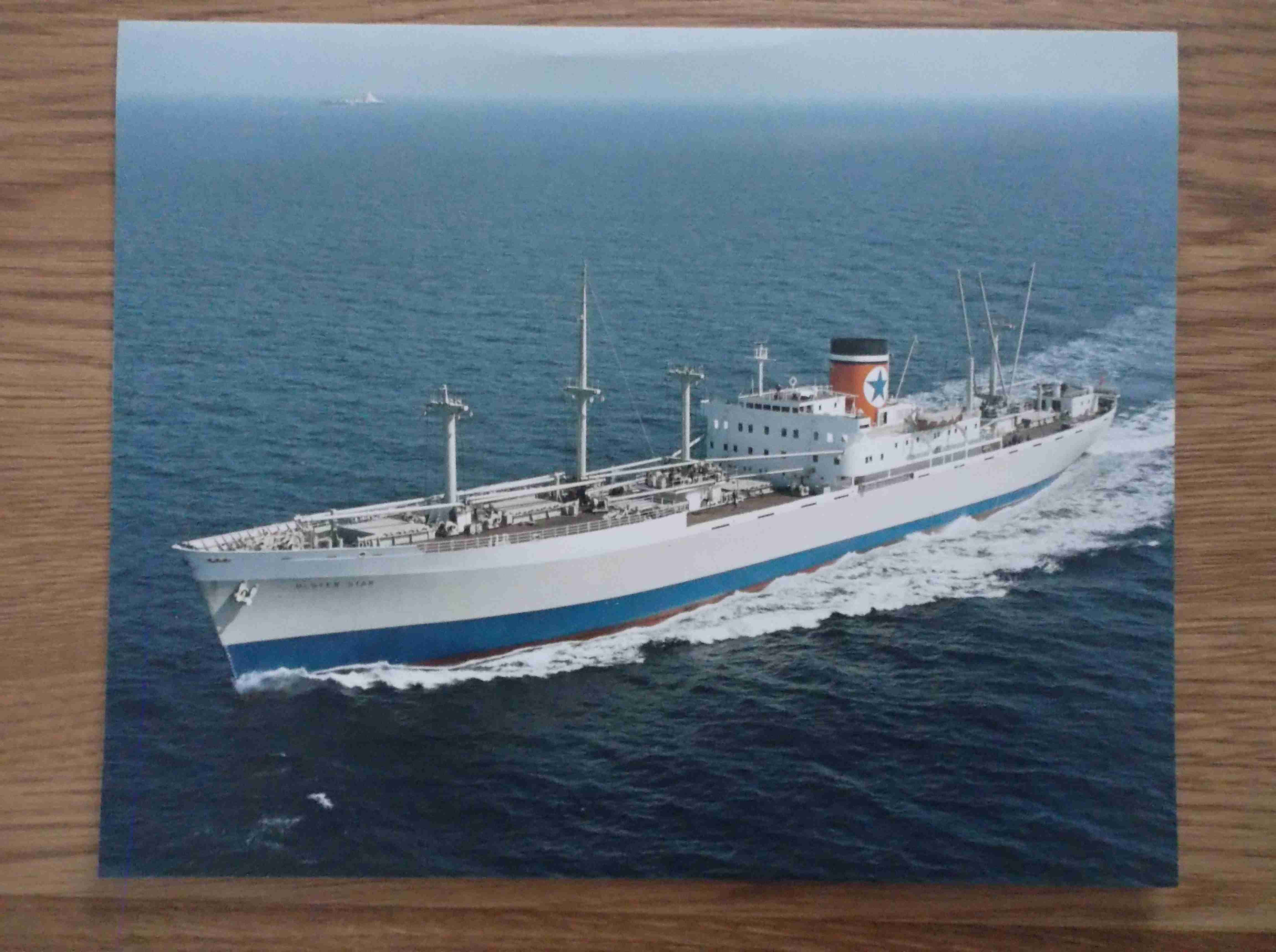 LARGE COLOUR PHOTOGRAPH OF THE BLUE STAR LINE VESSEL THE ULSTER STAR