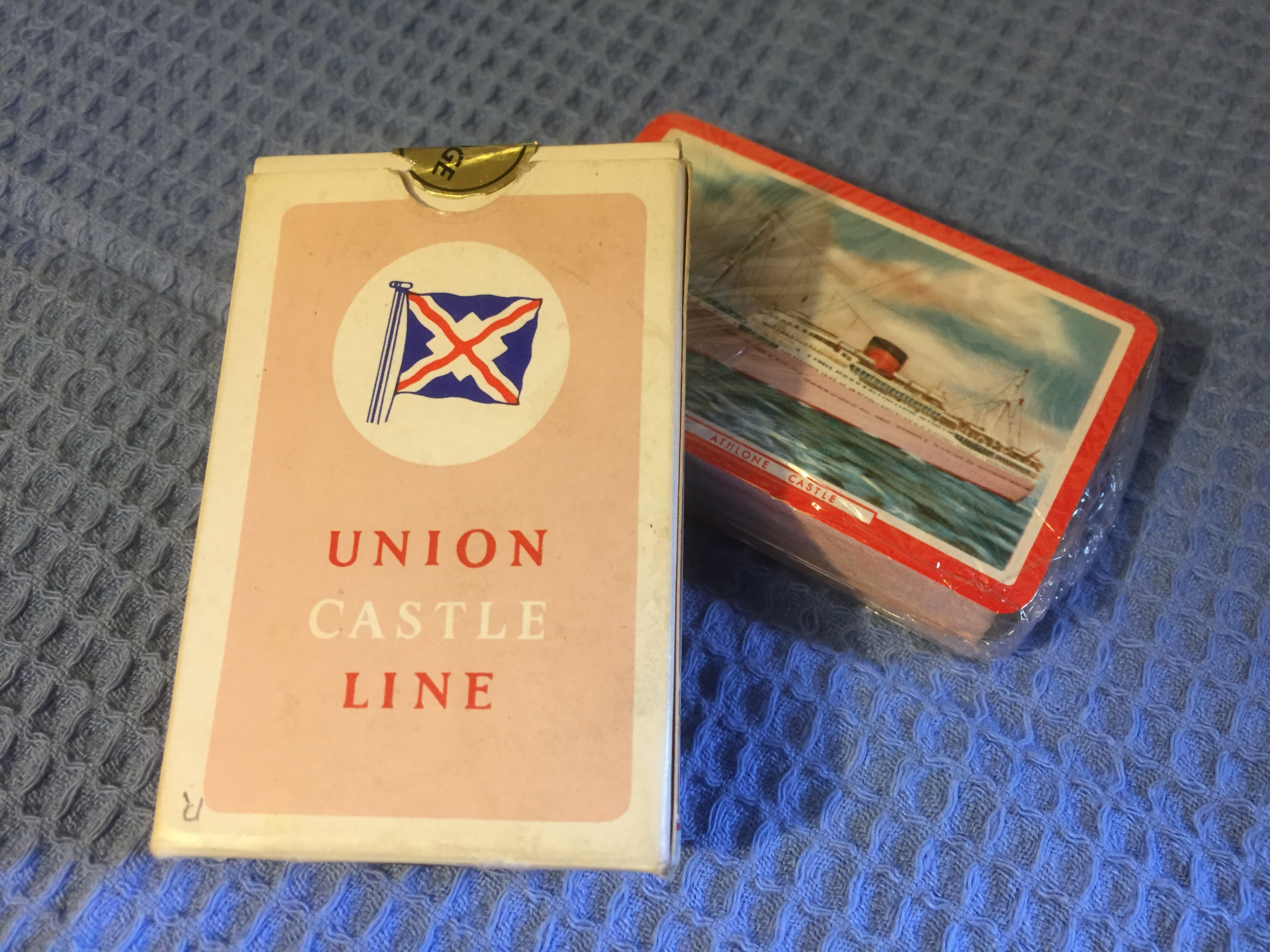 UNOPENED AND UNUSED UNION CASTLE LINE PLAYING CARDS FROM THE VESSEL THE ATHLONE CASTLE