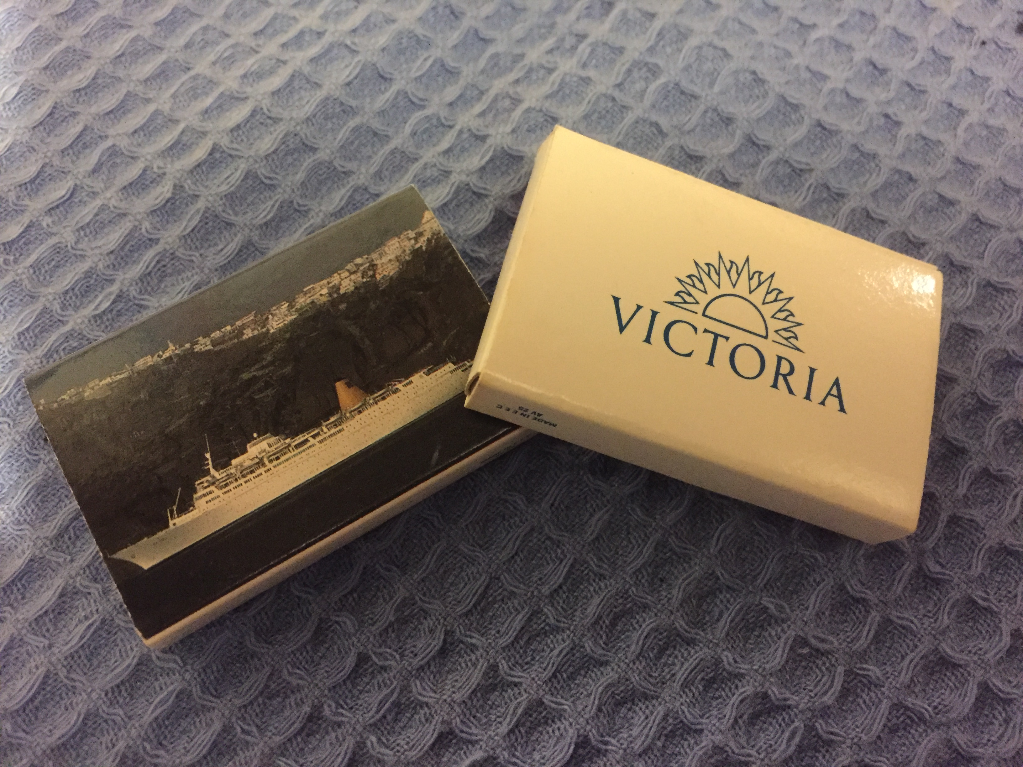 TWO BOXES OF UNUSED MATCHES FROM THE P&O LINE VESSEL VICTORIA