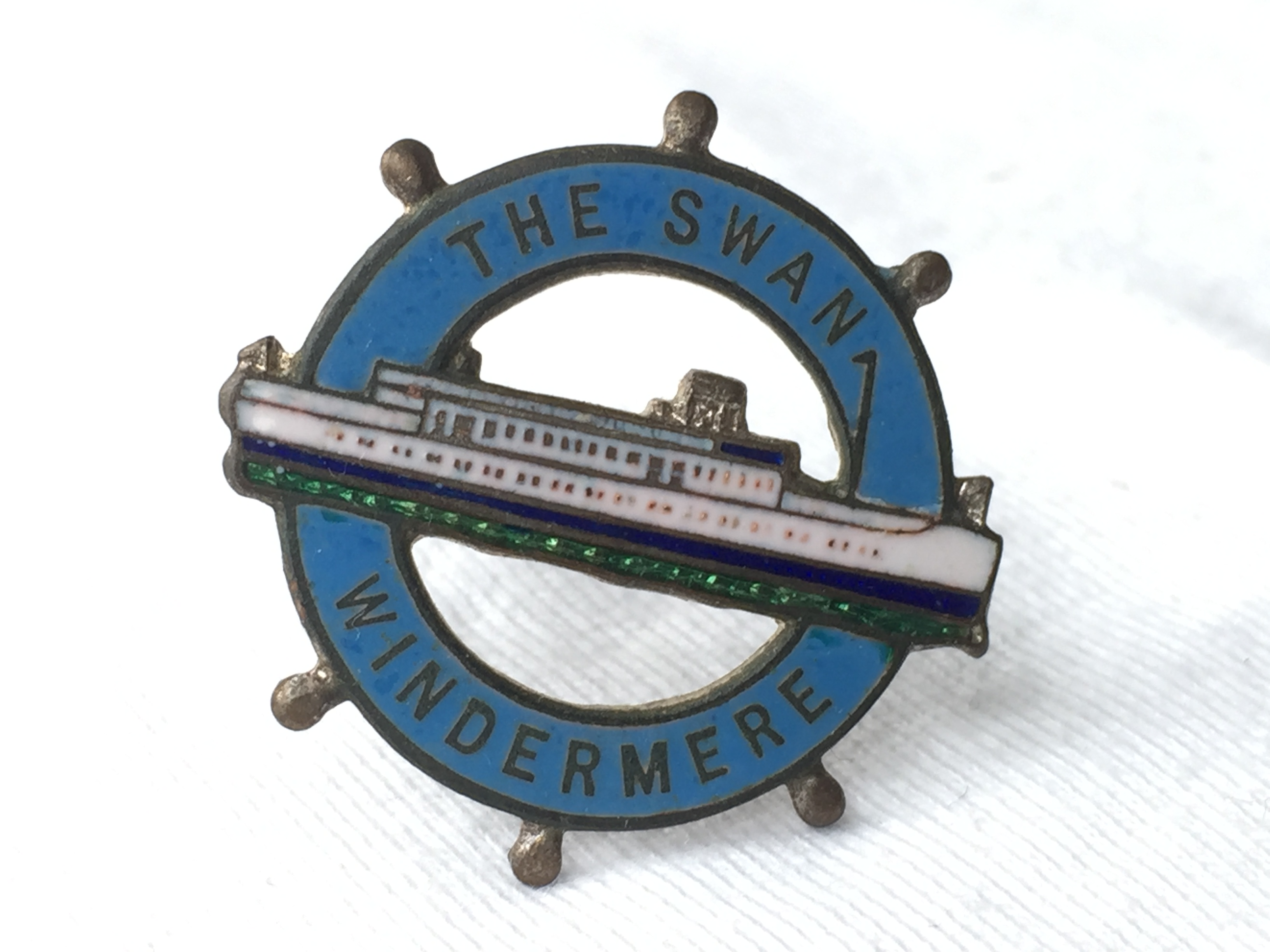 LAPEL PIN BADGE FROM THE WINDERMERE STEAMERS LINE VESSEL THE SWAN