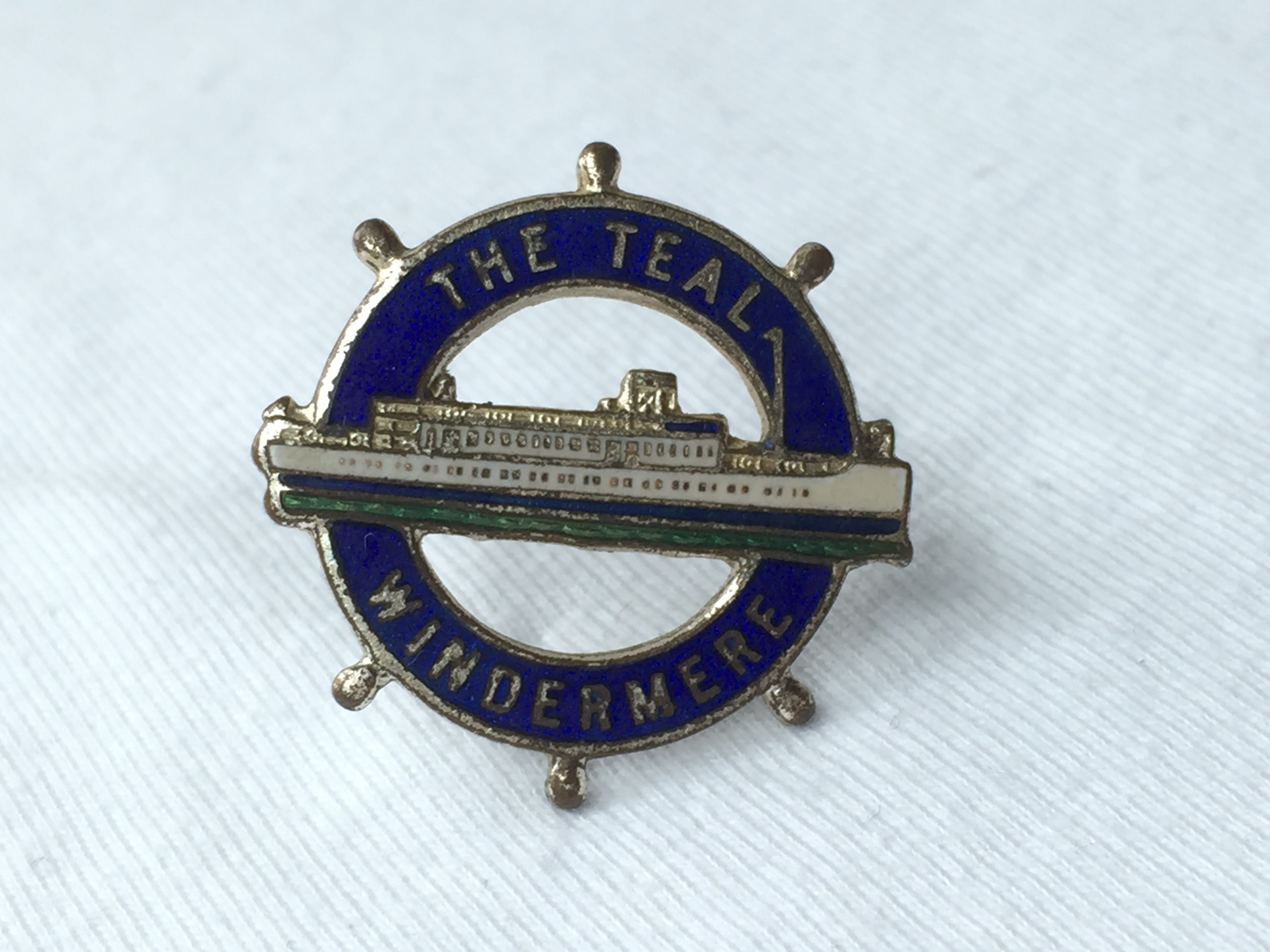 LAPEL PIN BADGE FROM THE WINDERMERE STEAMERS LINE VESSEL THE TEAL