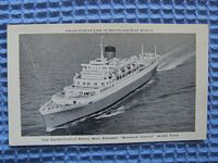 B/W POSTCARD FROM THE UNION CASTLE LINE VESSEL THE WINDSOR CASTLE