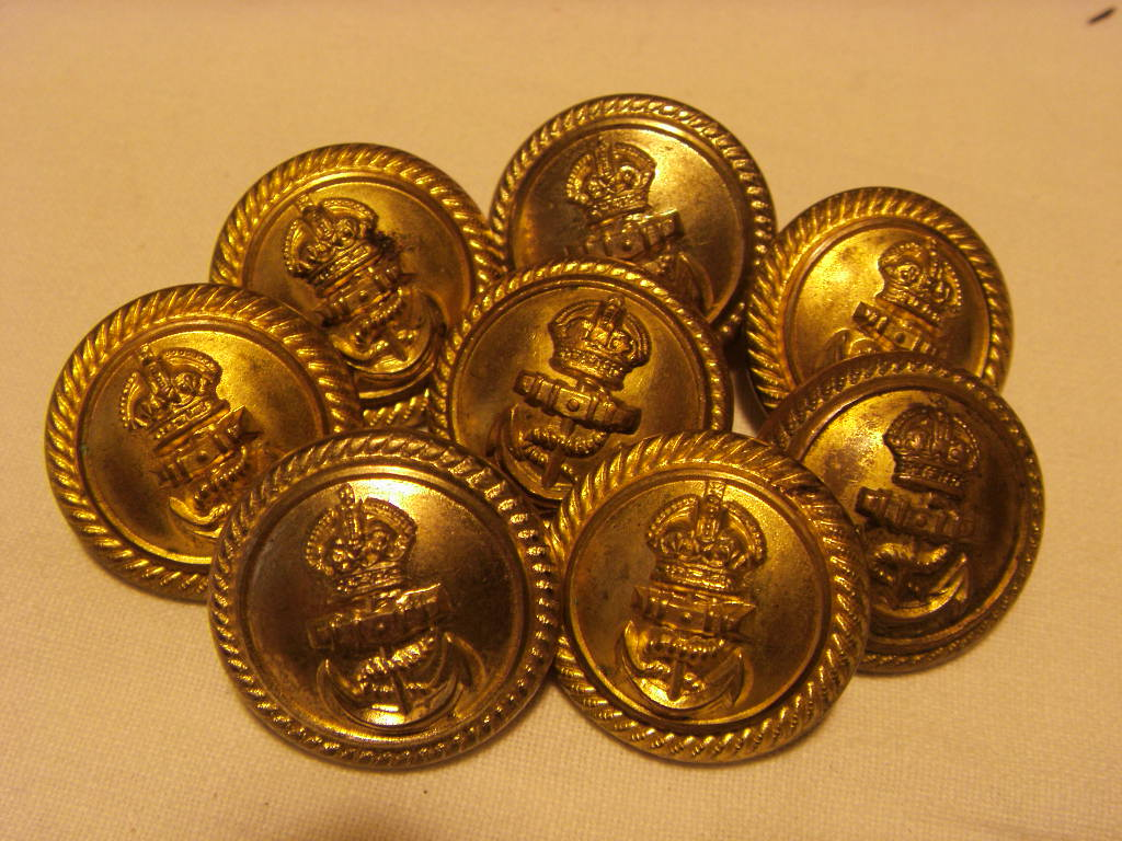 SET OF 8 LARGE SIZED ROYAL NAVAL BLAZER BUTTONS DATED 1960's/70's