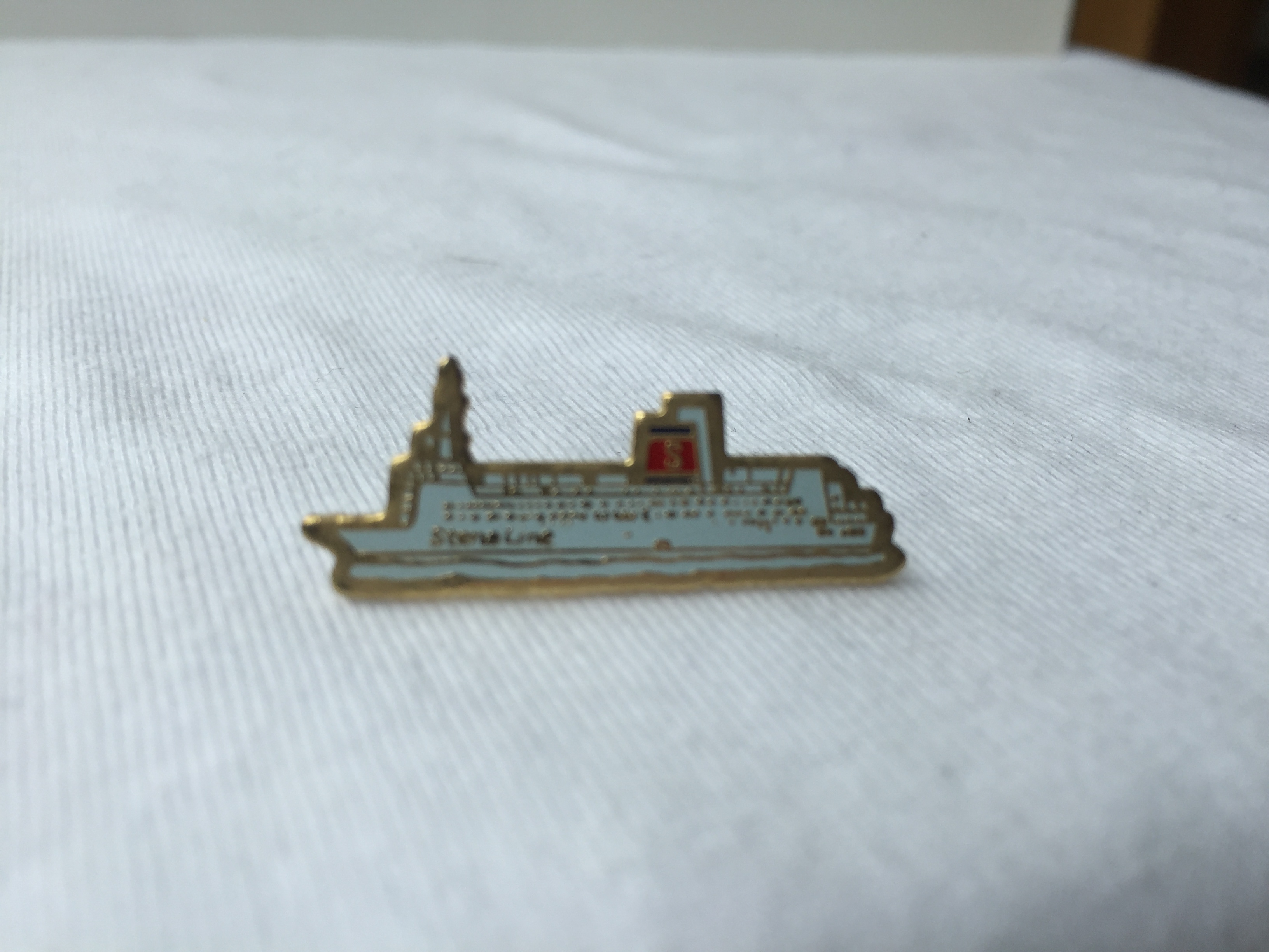 SHIP SHAPE LAPEL PIN FROM THE STENA LINE FERRY CROSSING COMPANY
