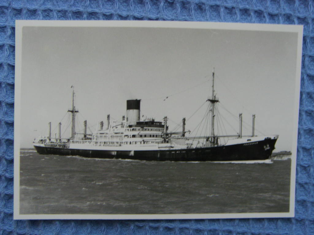 B/W PHOTOGRAPH OF THE BLUE FUNNEL LINE VESSEL THE POLYDORUS