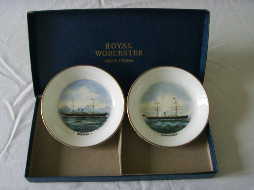 PAIR OF ROYAL WORSCESTER MARITIME THEME DISPLAY DISHES