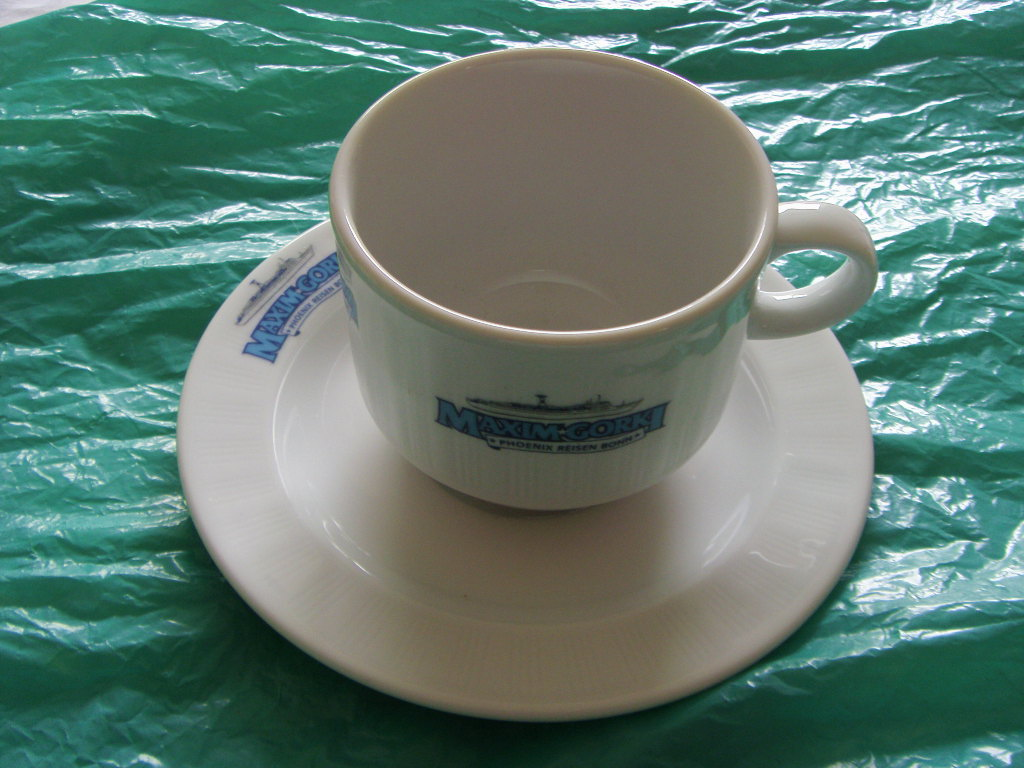 CUP & SAUCER FROM THE RUSSIAN VESSEL THE SS MAXIM GORKI
