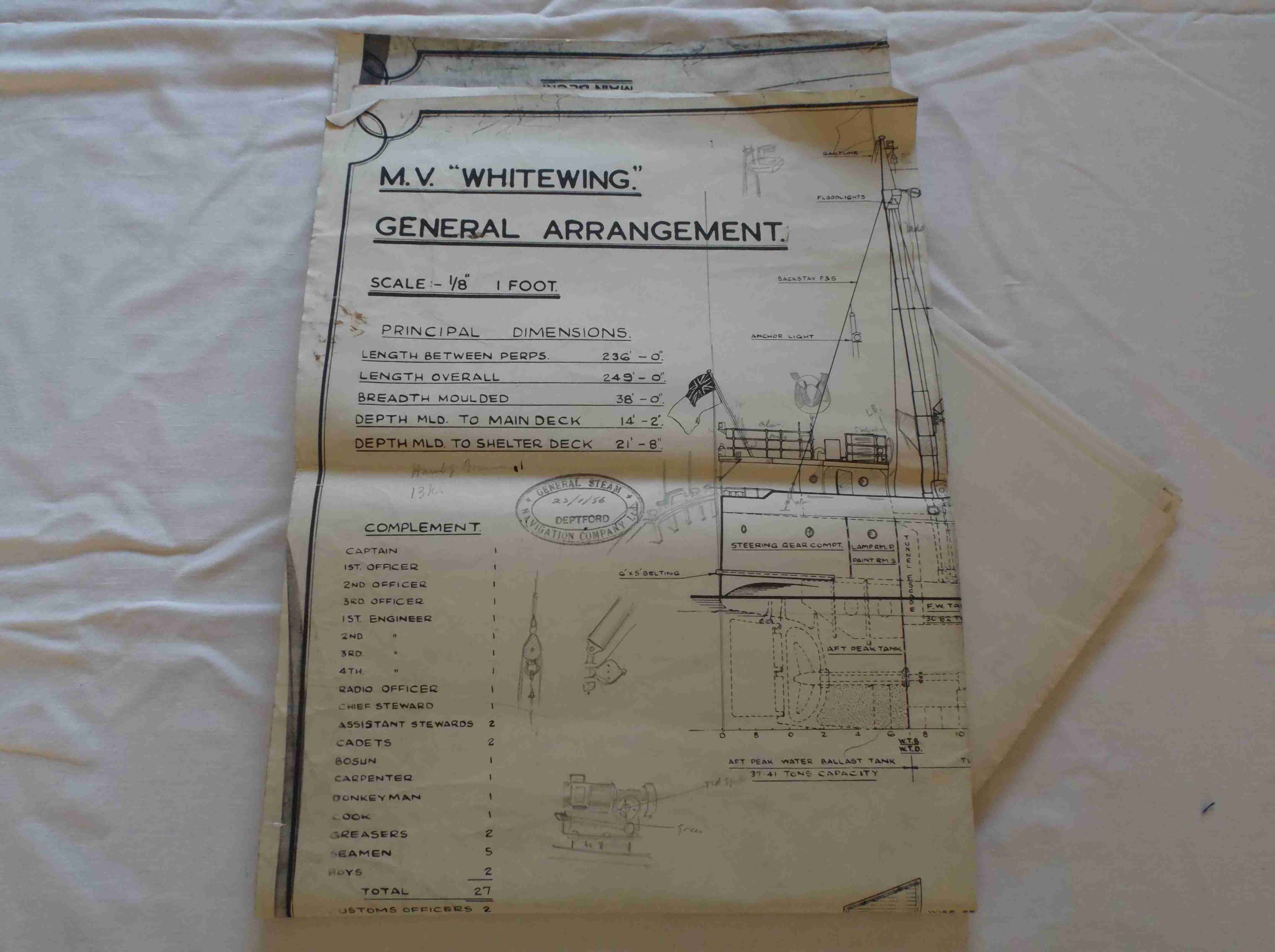 SET OF ORIGINAL SHIPS PLANS FOR THE GENERAL STEAM NAVIGATION COMPANY VESSEL THE WHITEWING