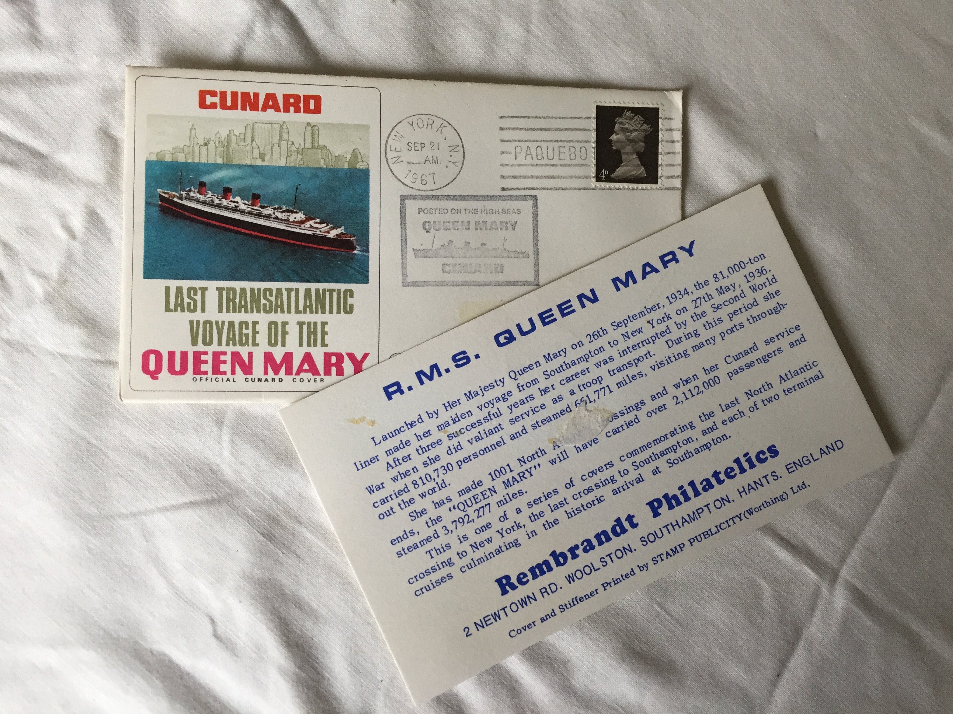 LAST TRANSATLANTIC VOYAGE QUEEN MARY POSTAL CARD DATED 1967