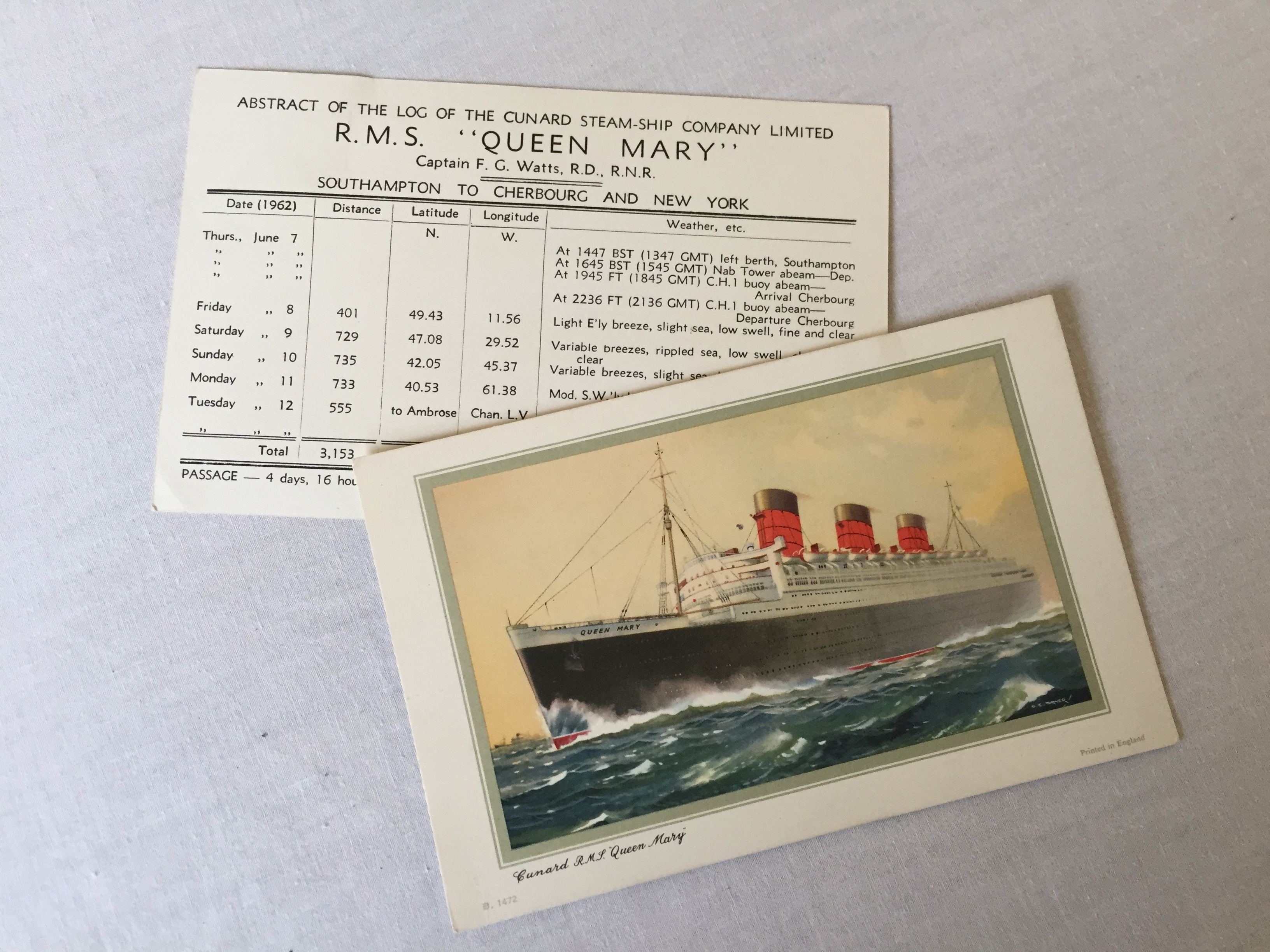 PAIR OF LOG CARDS FROM THE RMS QUEEN MARY DATED 1962