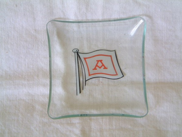 ORIGINAL GLASS CABIN DISH FROM THE AZNAR LINE COMPANY