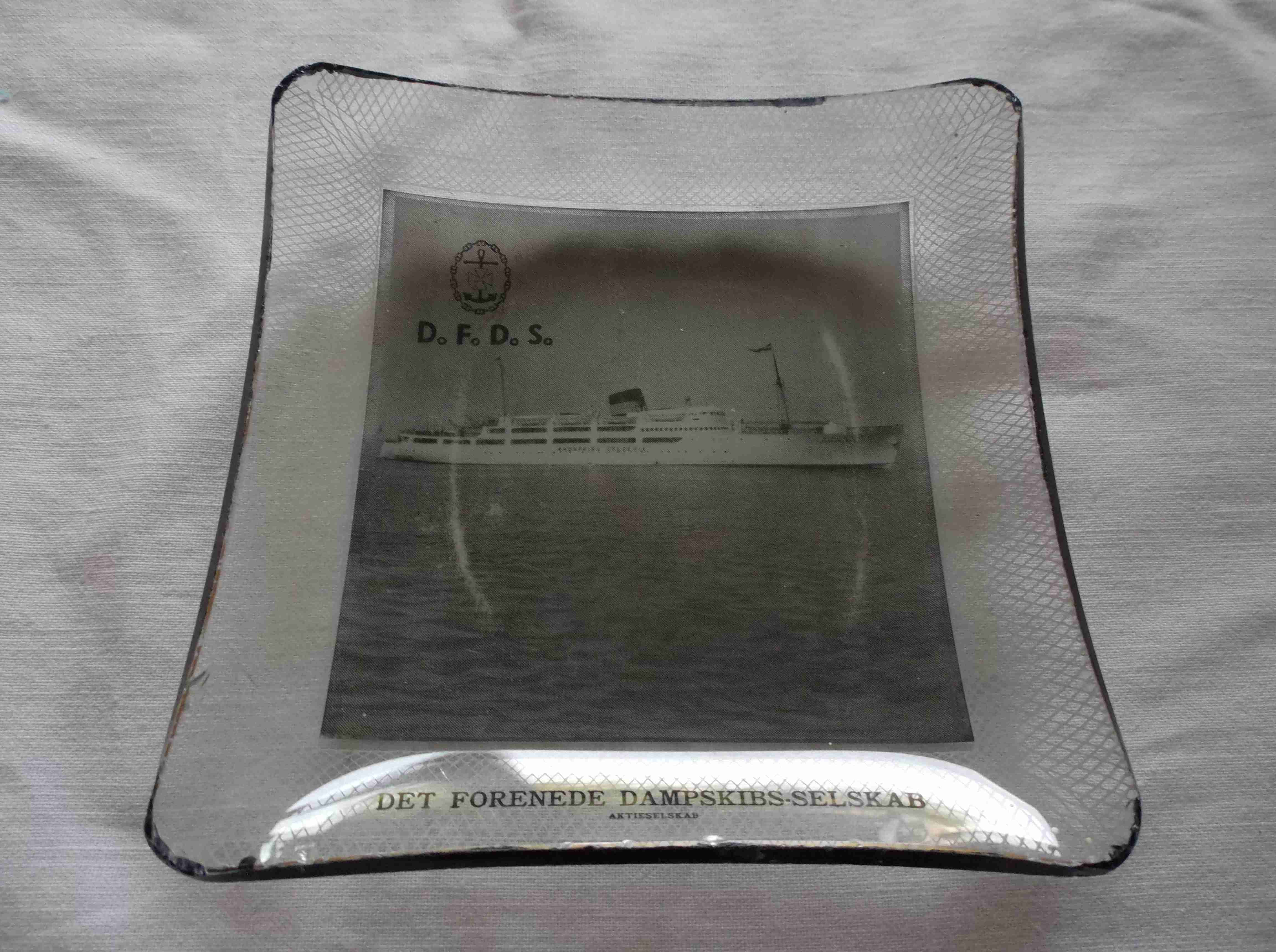 SQUARE GLASS TABLE SIDE DISH FROM THE DFDS SHIPPING COMPANY