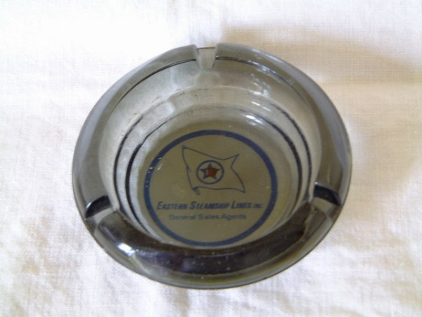 SUPERB GLASS ASHTRAY FROM THE EASTERN STEAMSHIP LINES