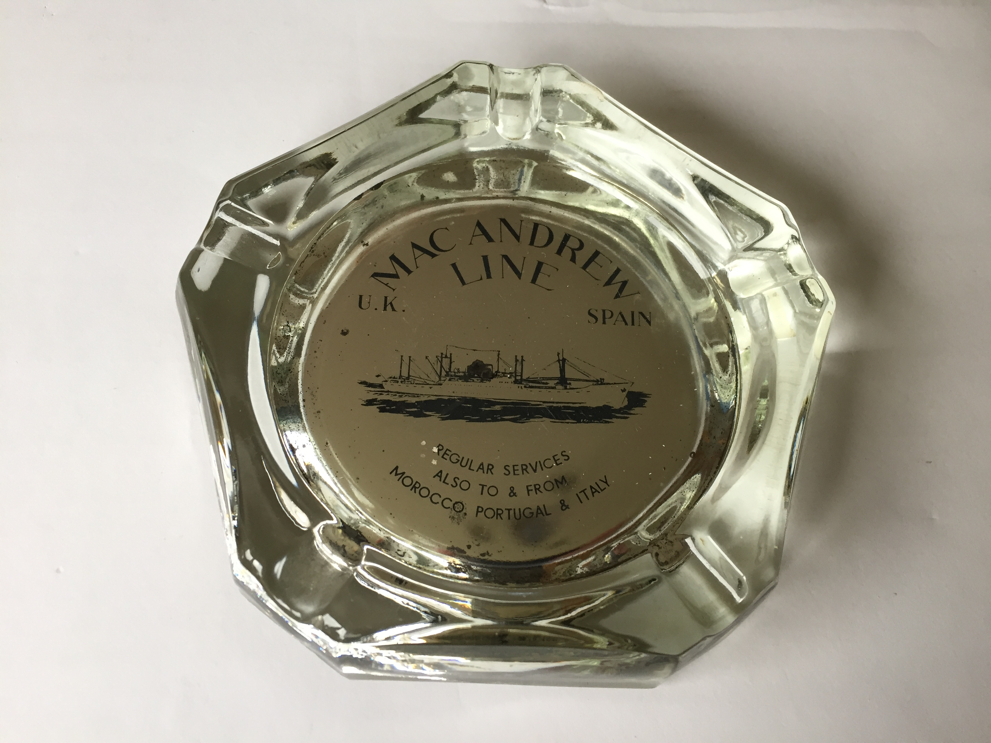 GLASS ASHTRAY FROM THE MACANDREW LINE SHIPPING COMPANY