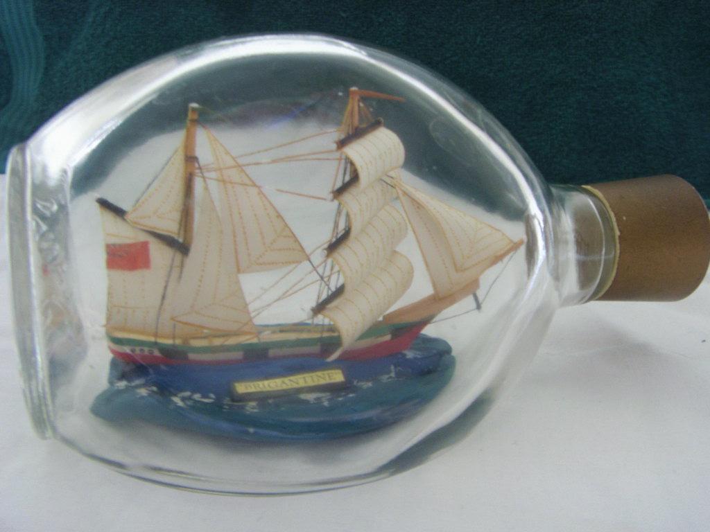 MODEL SHIP IN A GLASS BOTTLEOF THE VESSEL 'BRIGATINE'