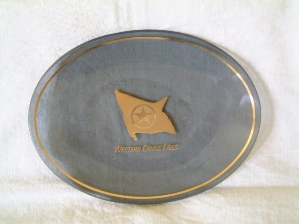 FIRST CLASS OVAL GLASS DISH FROM THE WESTERN CRUISE LINE
